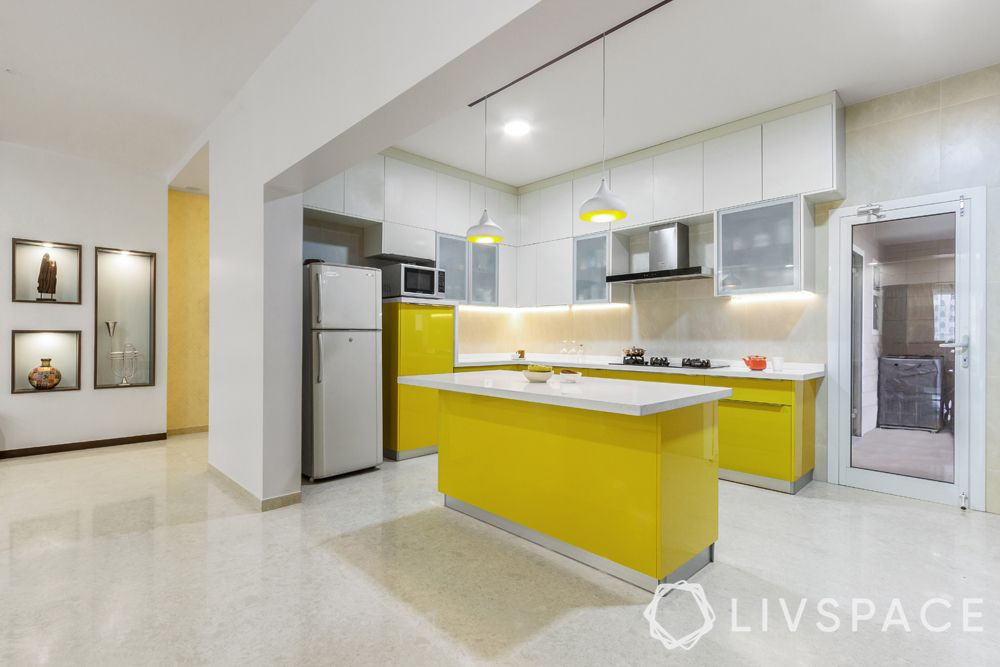 kitchen designs in india-yellow kitchen-island kitchen