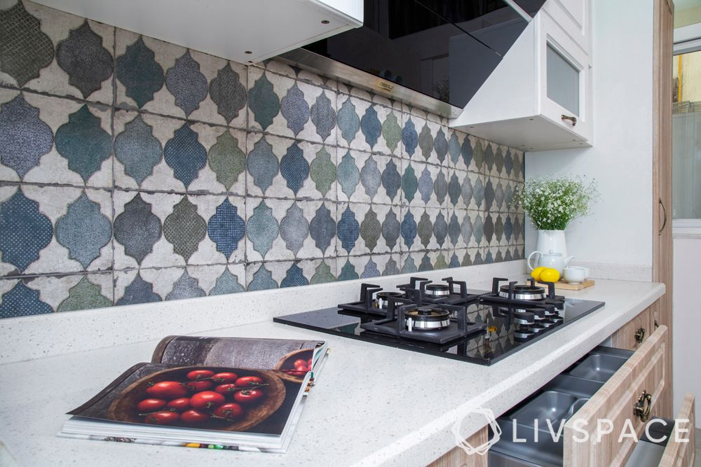 kitchen designs in india-blue kitchen-backsplash tiles