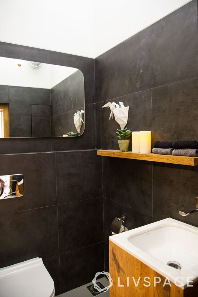 bathroom ideas-black bathroom-powder room