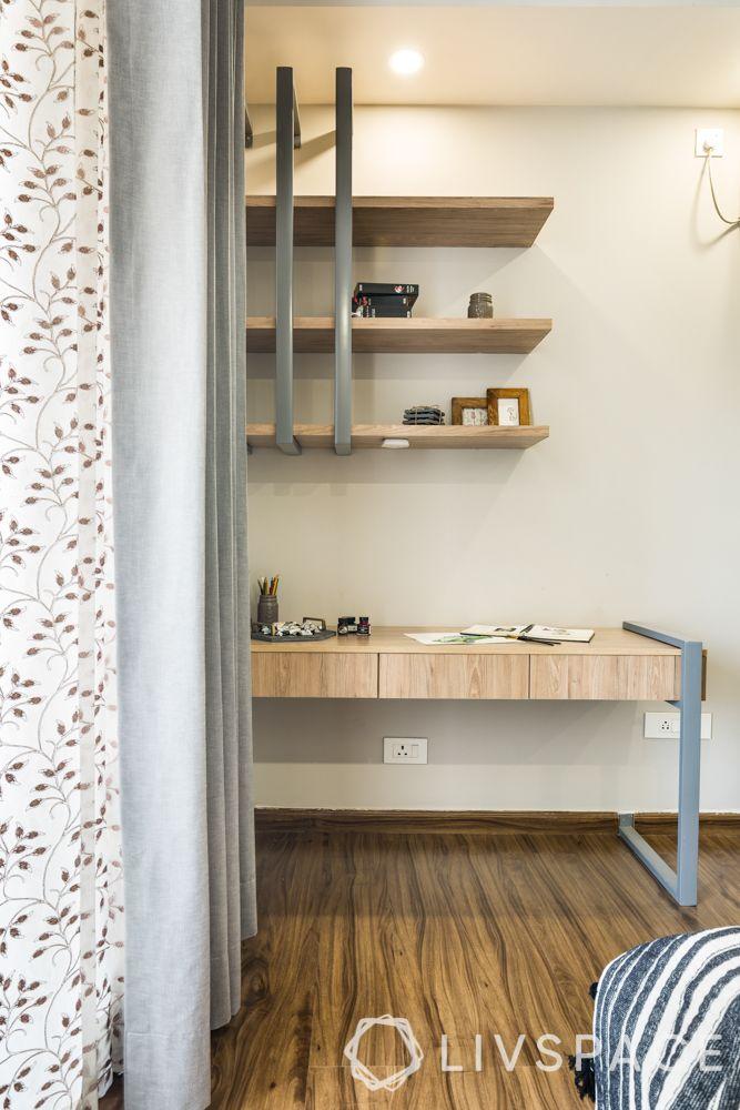Scandinavian interiors-study table-wood laminate-metal