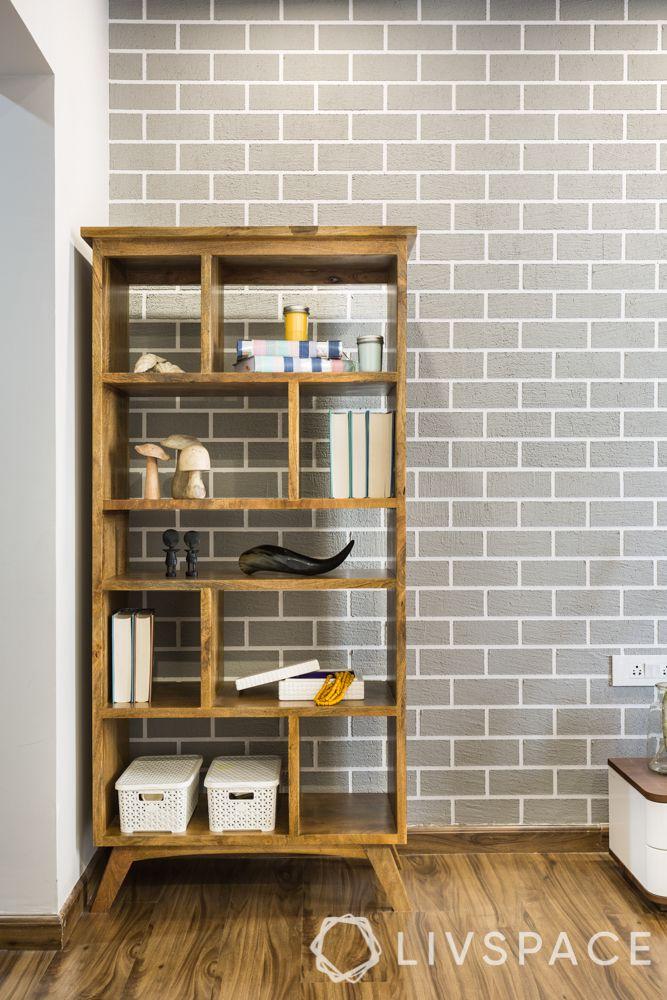 best 3BHK interior design-storage unit-wood like laminate finish