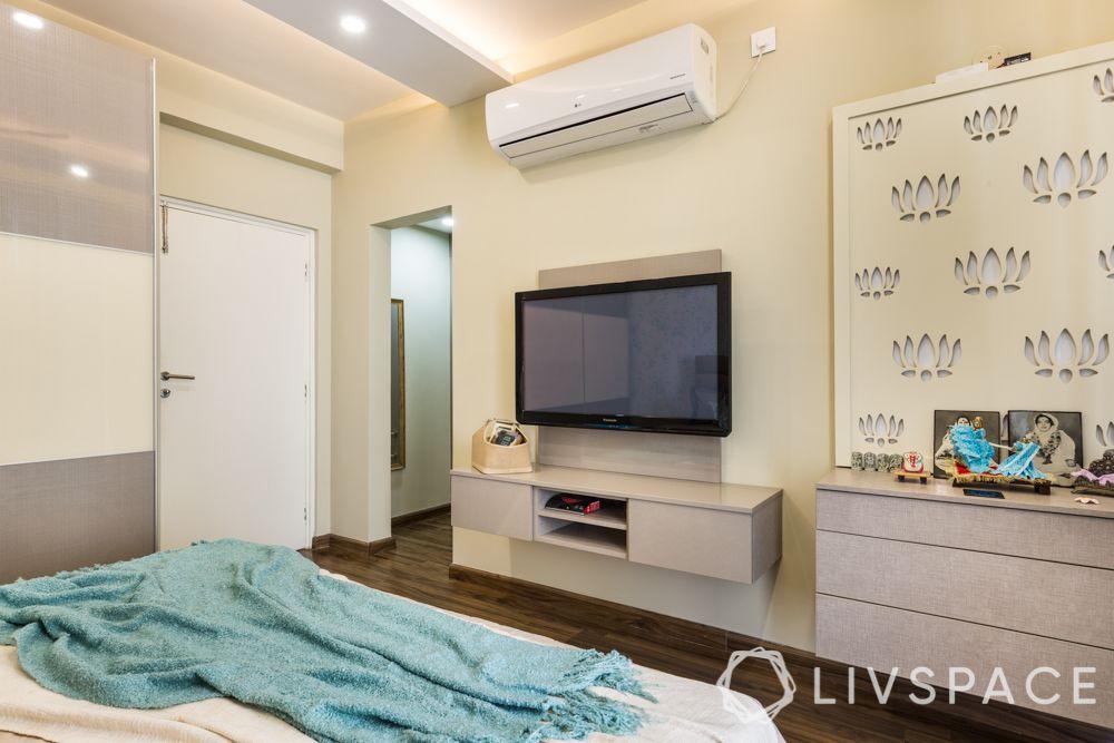 best 3BHK interior design-jaali mandir unit-storage-TV unit