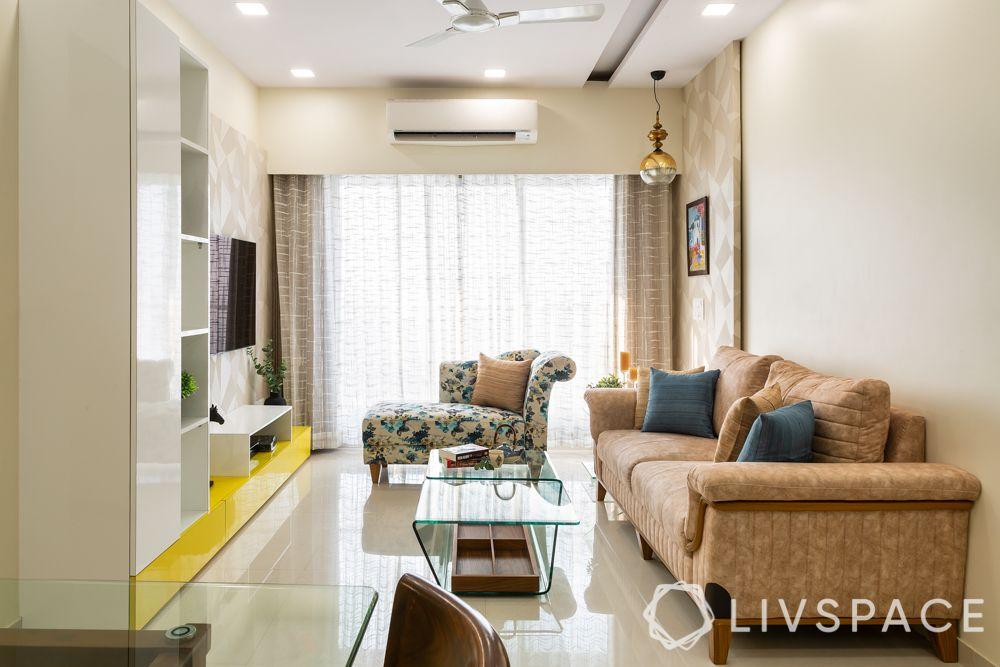 2 bhk home decoration-living room-false ceiling design