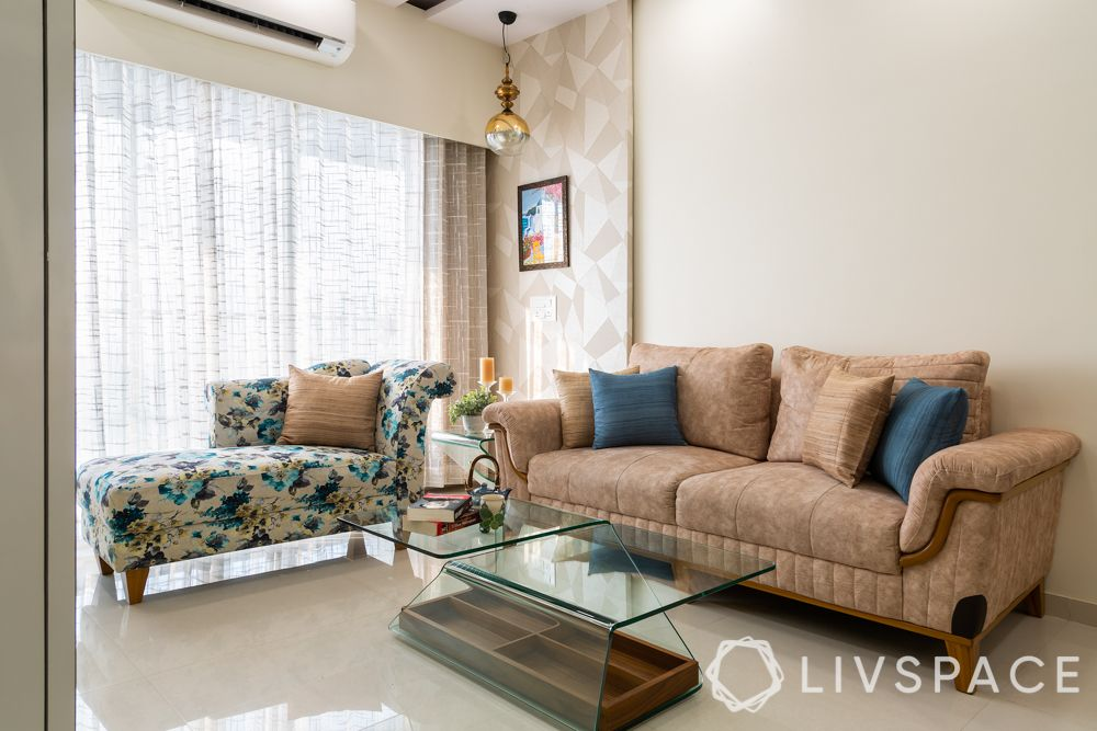 2 bhk home decoration-living room-wallpaper panel
