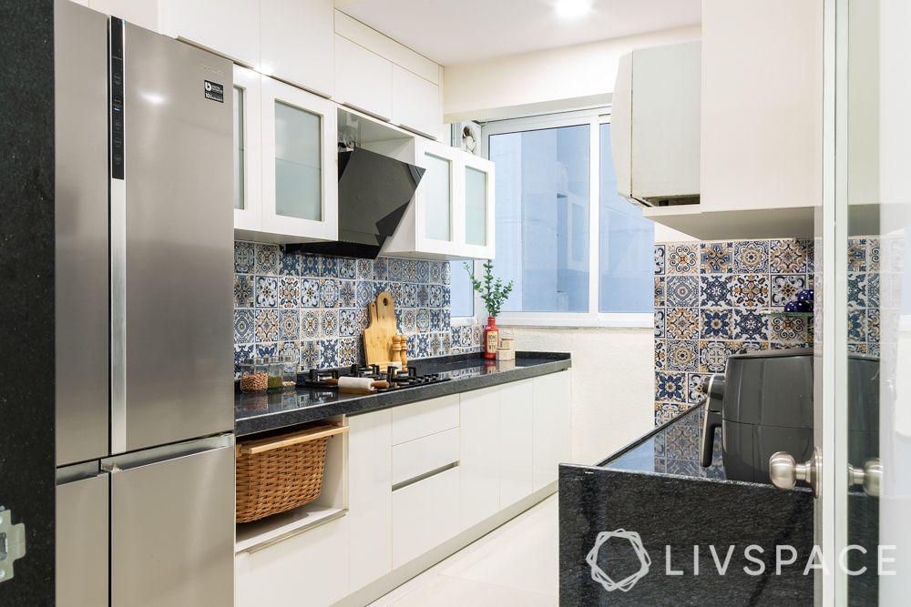 2 bhk home decoration-kitchen-white cabinets