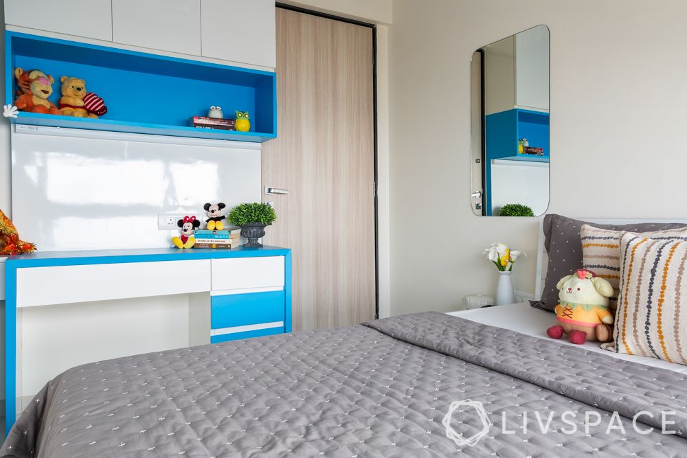 kids room design-blue study unit