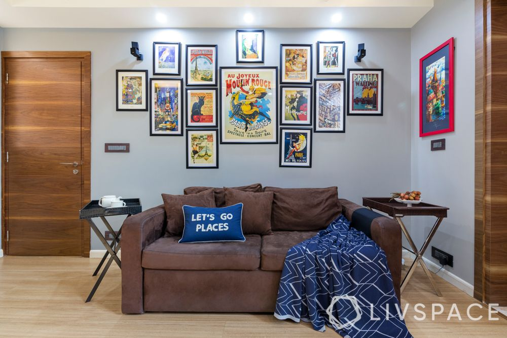 living space-sofa-wall of photographs