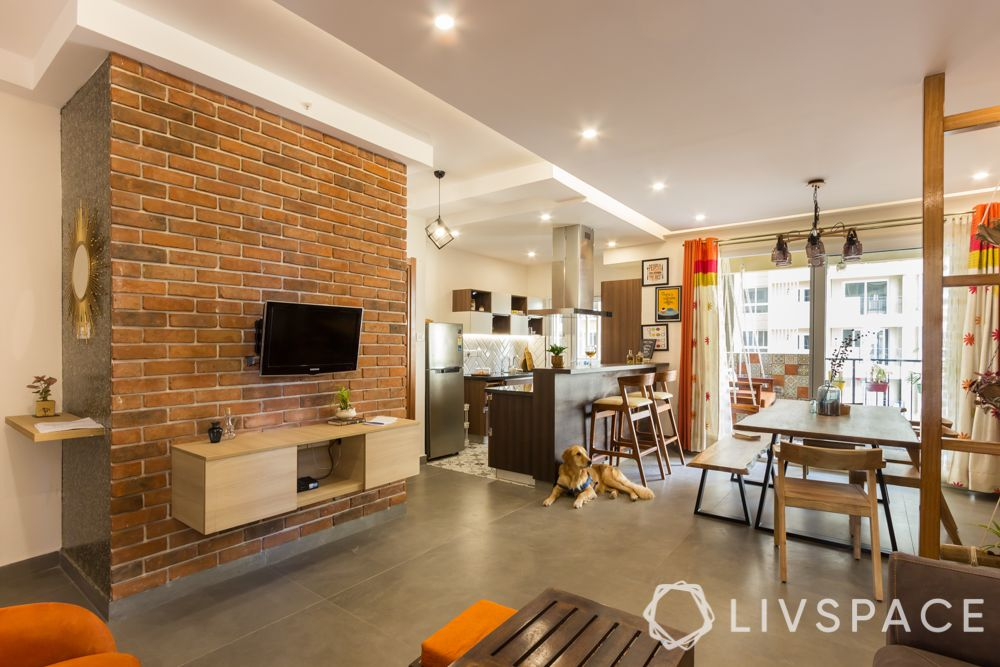 industrial living room-exposed brick wall-TV unit