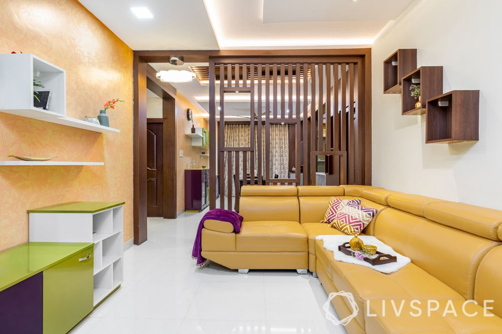 partition designs between living dining-wooden partition