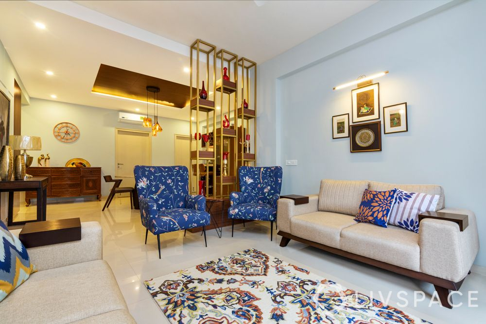 partition designs between living dining-jaali partition