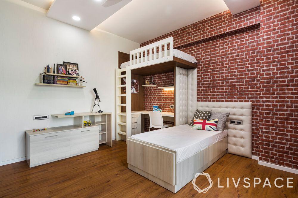 kids room-exposed brick wall-loft bed