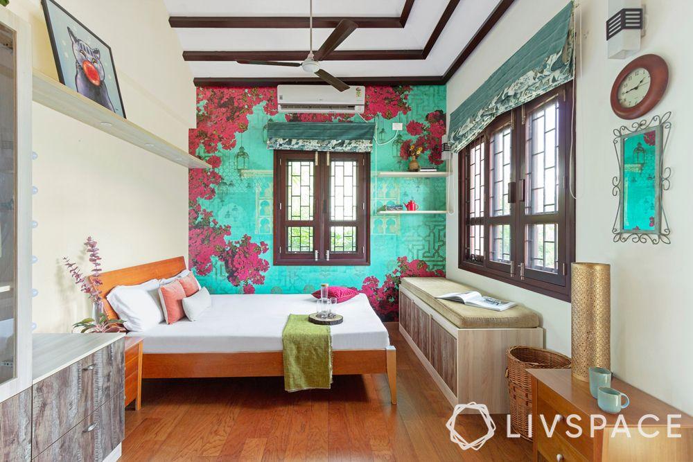 false ceiling design for bedroom-wooden rafters