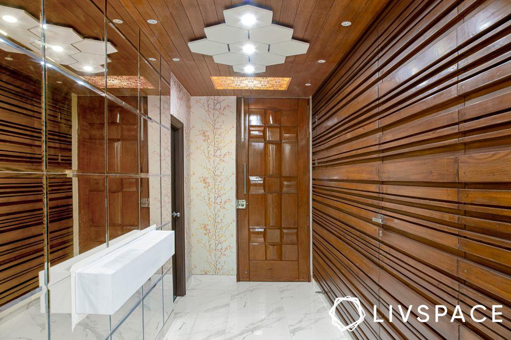 vastu for home entrance-wooden panelling
