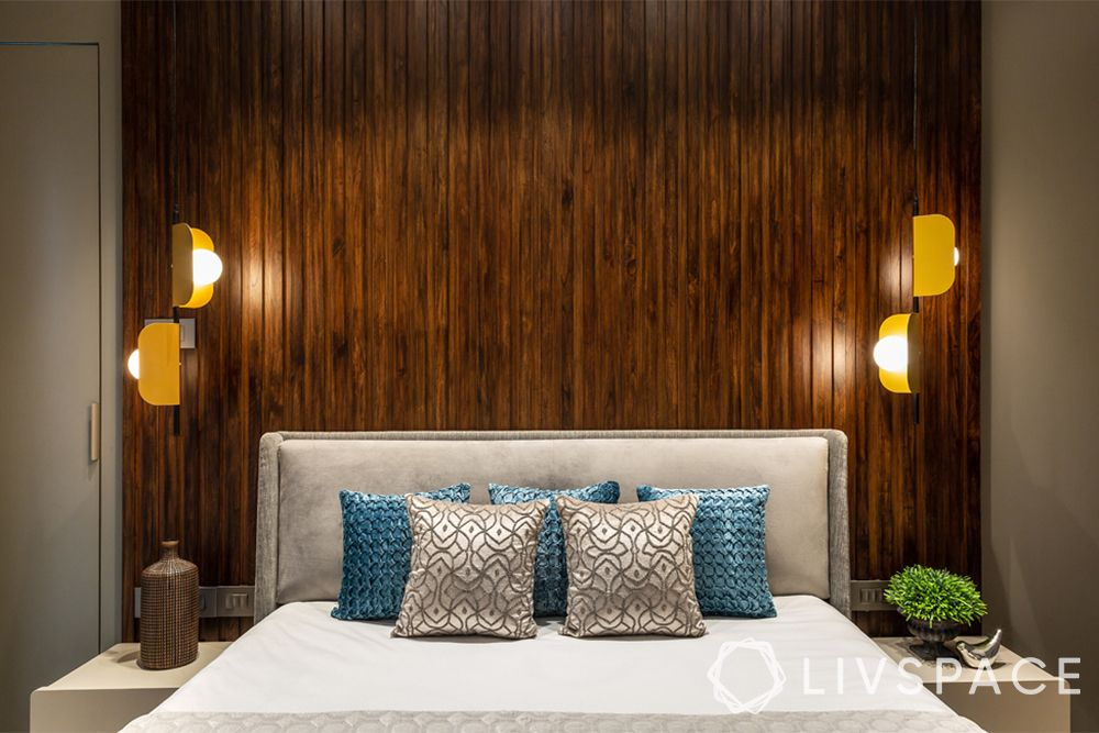 7bhk interiors-wooden panelling-statement lighting