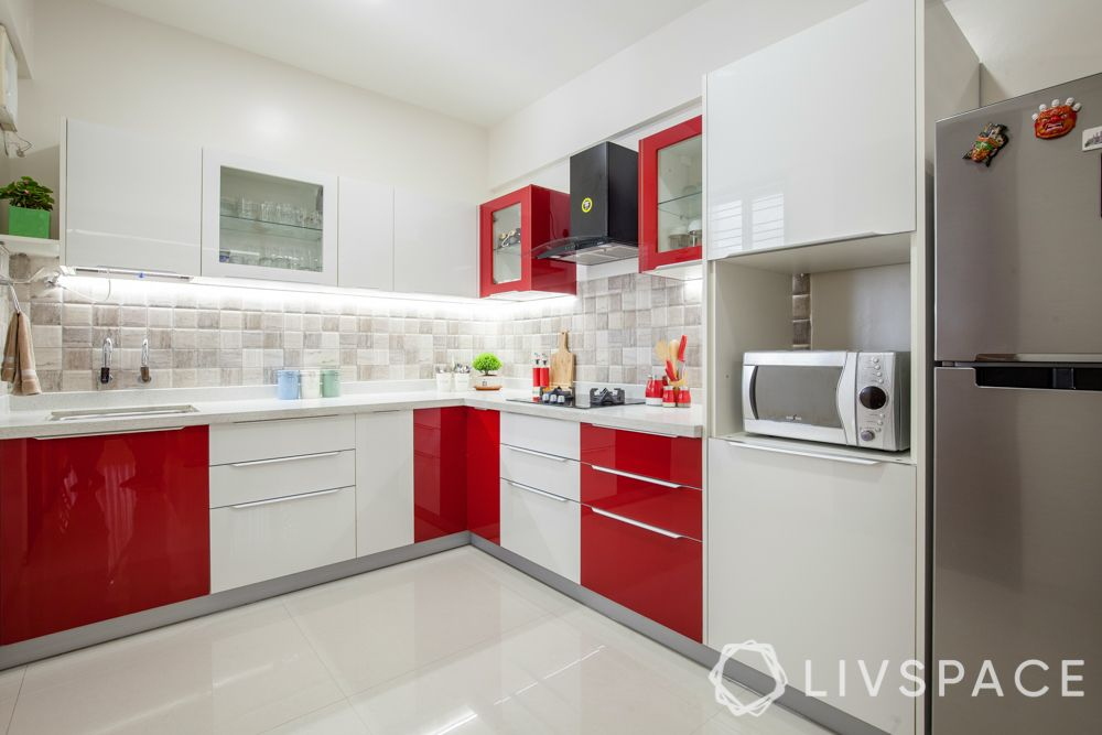cabinet finish-acrylic finish-red and white-kitchen cabinets