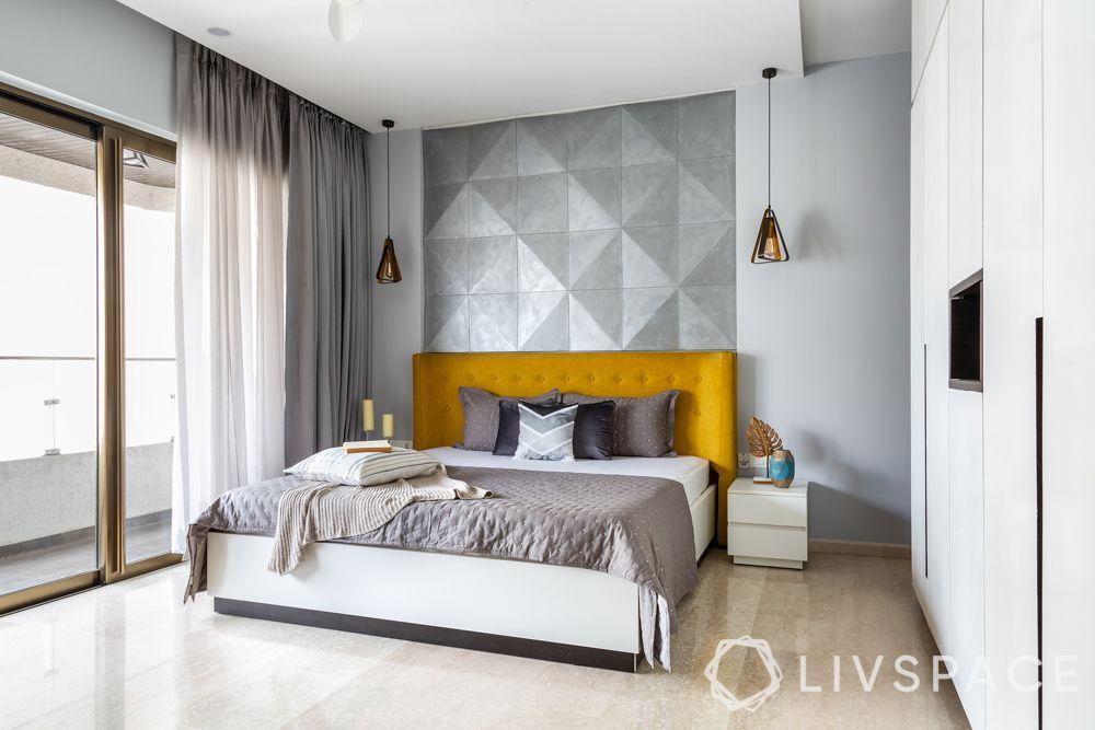 designer for homes-master bedroom-MDF panelling-hydraulic bed-mustard headboard-lighting