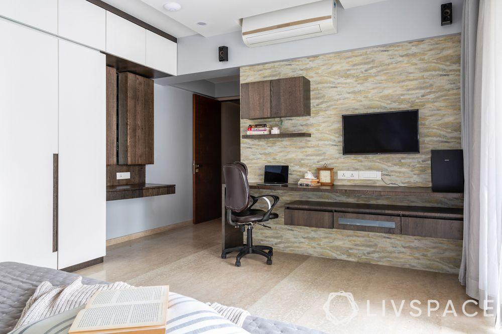 mumbai 4bhk-TV cum study unit-dresser area-veneer-wallpaper