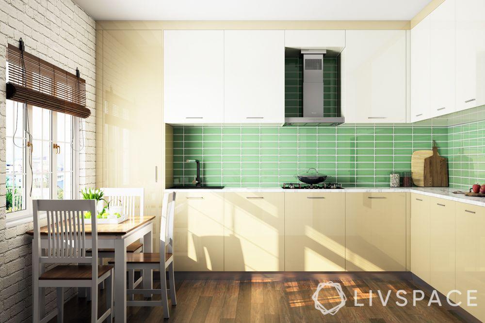 minimalist interior design-kitchen-green backsplash