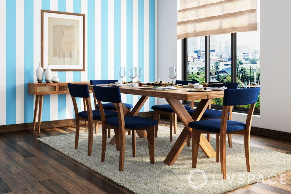 minimalist interior design-blue wallpaper