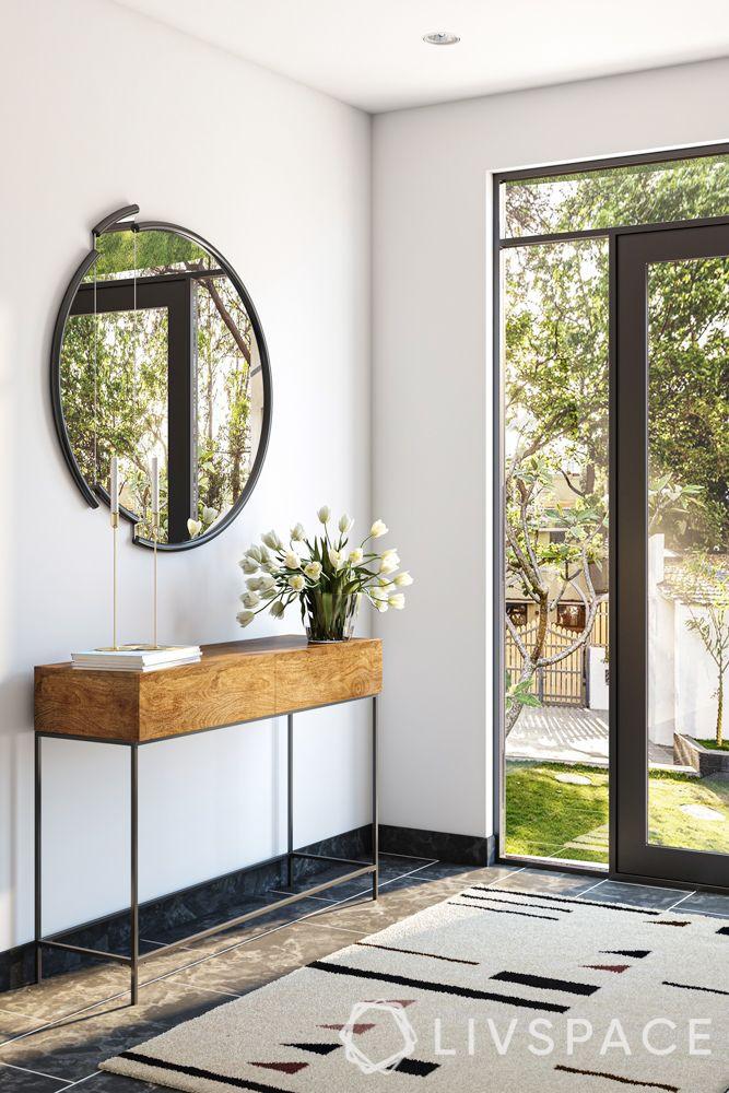minimalist interior design-glass door-foyer design