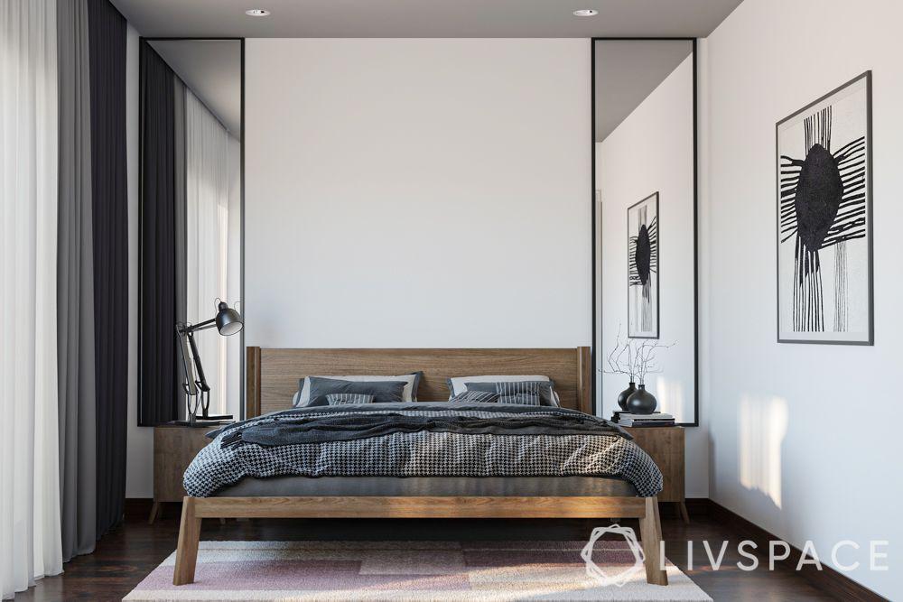minimalist interior design-white walls-bedroom design