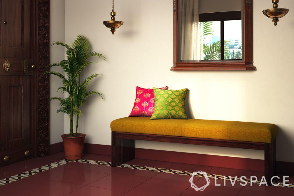 chettinad homes-foyer design-red floor