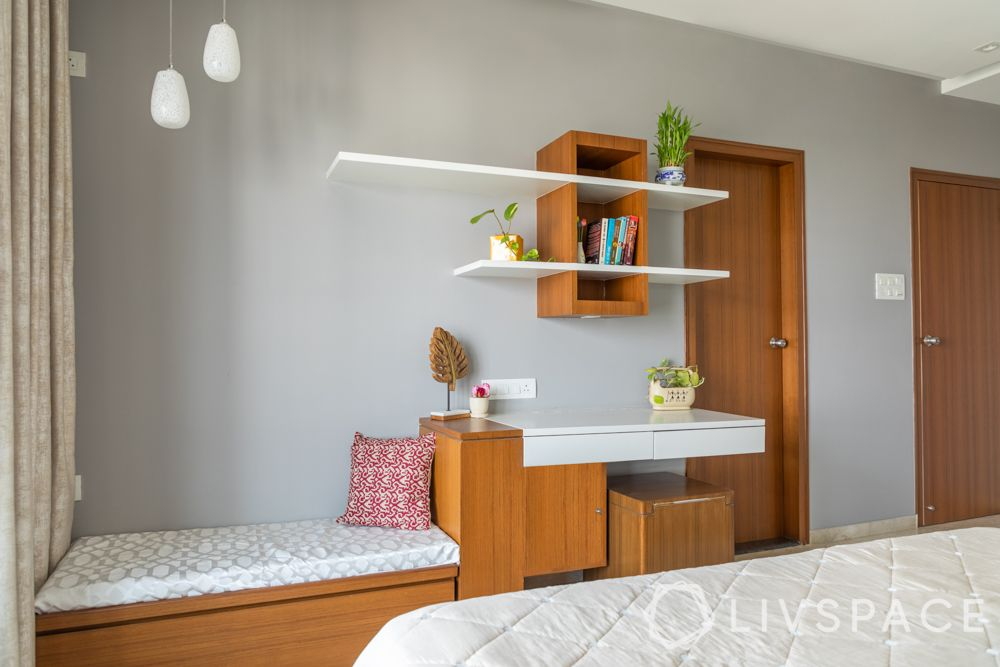 integrated furniture-wall mounted shelves