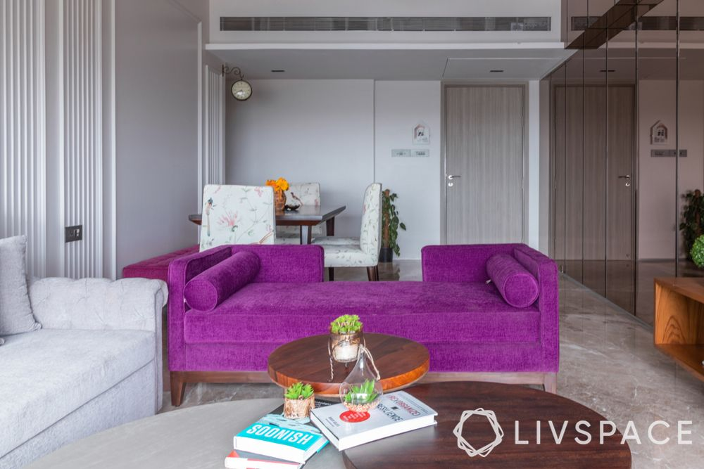 purple daybed-white walls with moulding