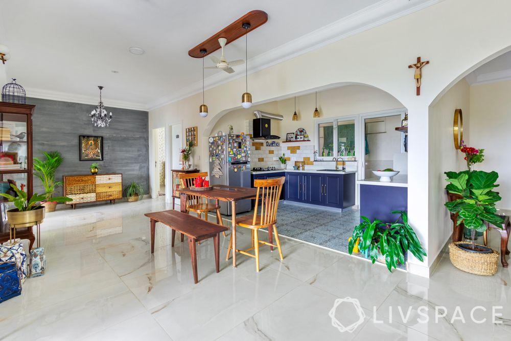 open kitchen-blue kitchen