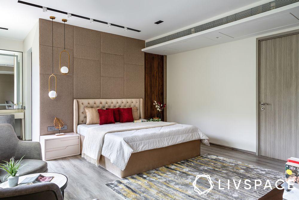 bedroom design-beige headboard-dressing area