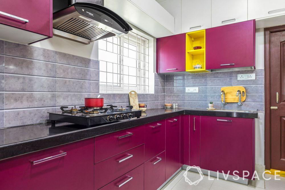 vastu kitchen-pink cabinets-handles