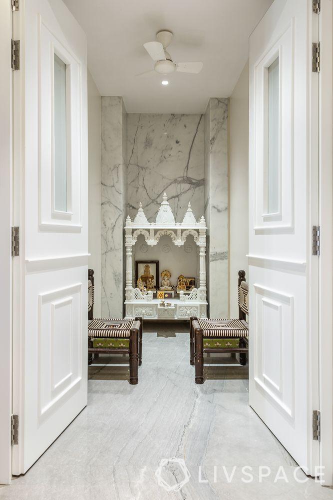 marble pooja room-white pooja room
