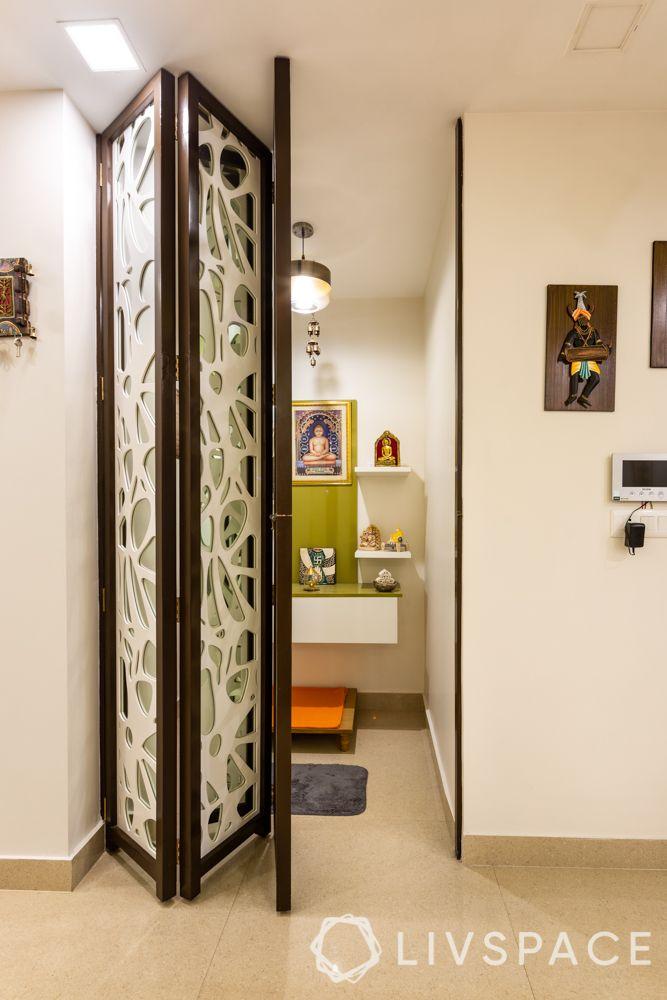 jaali pooja room-collapsible door design