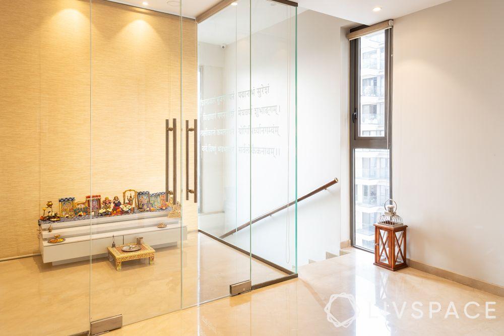 glass pooja room-pooja room designs for indian homes