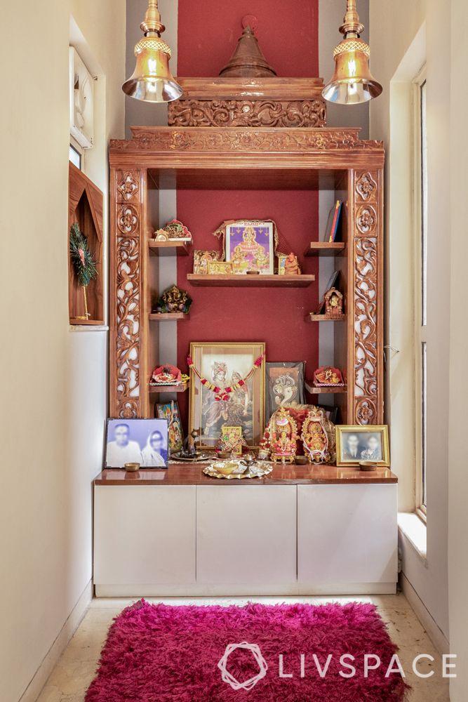 wooden mandir designs-red pooja room