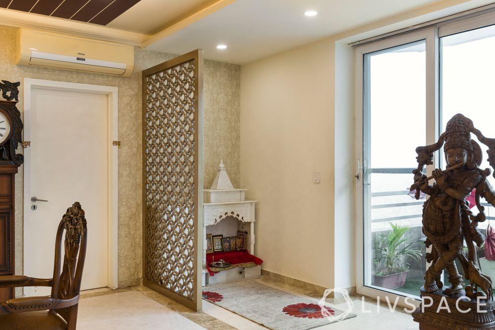 marble mandir designs-jaali partition