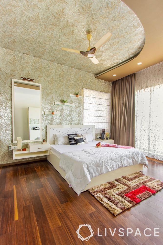 POP ceiling designing-bedroom-curved false ceiling