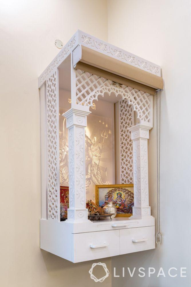 white pooja unit-wall mounted pooja unit