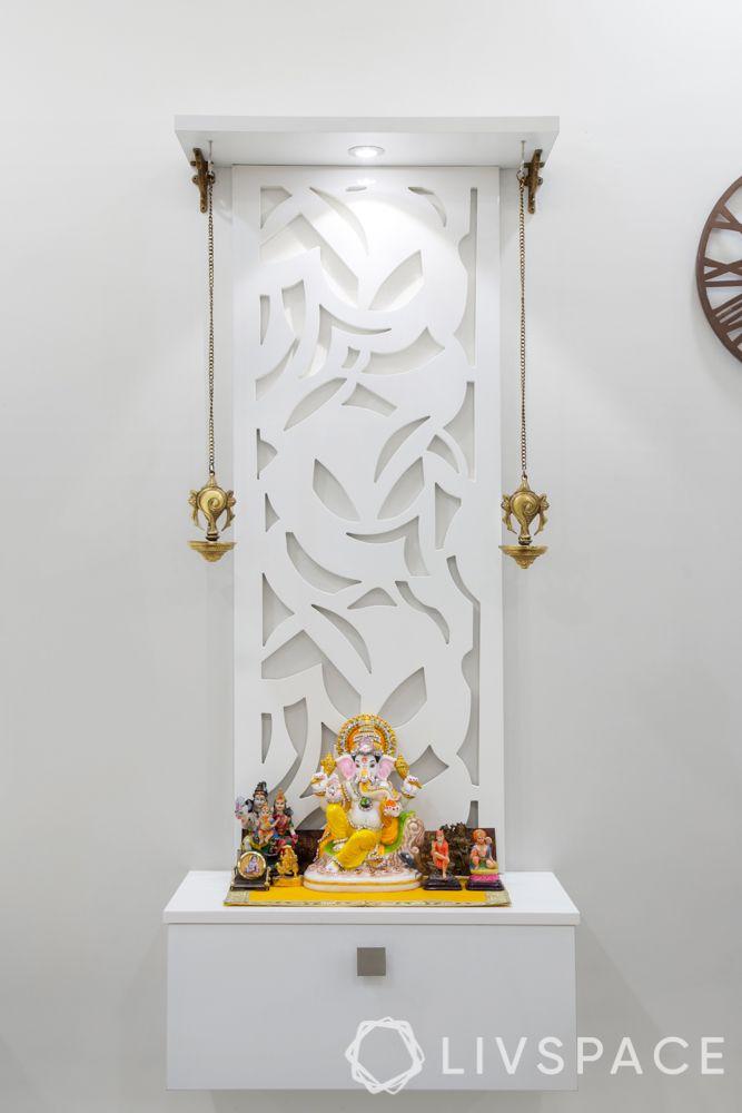 white pooja unit-jaali pooja room designs