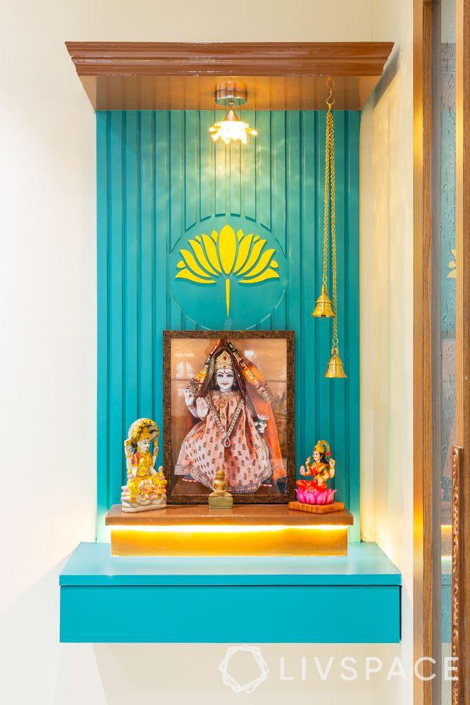 blue pooja unit-wall mounted pooja unit
