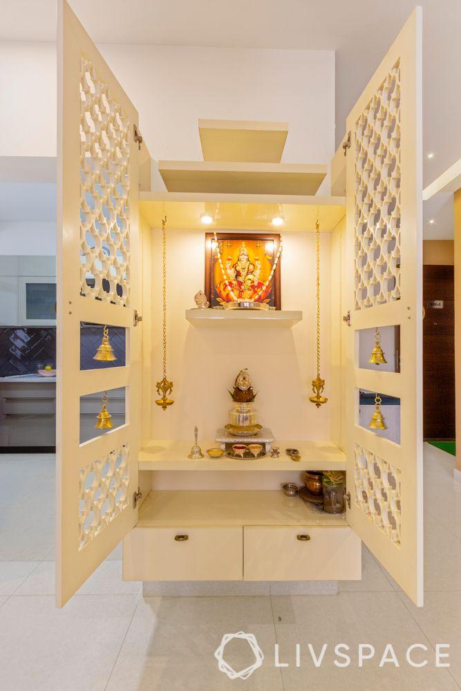 white pooja unit-jaali door for pooja room
