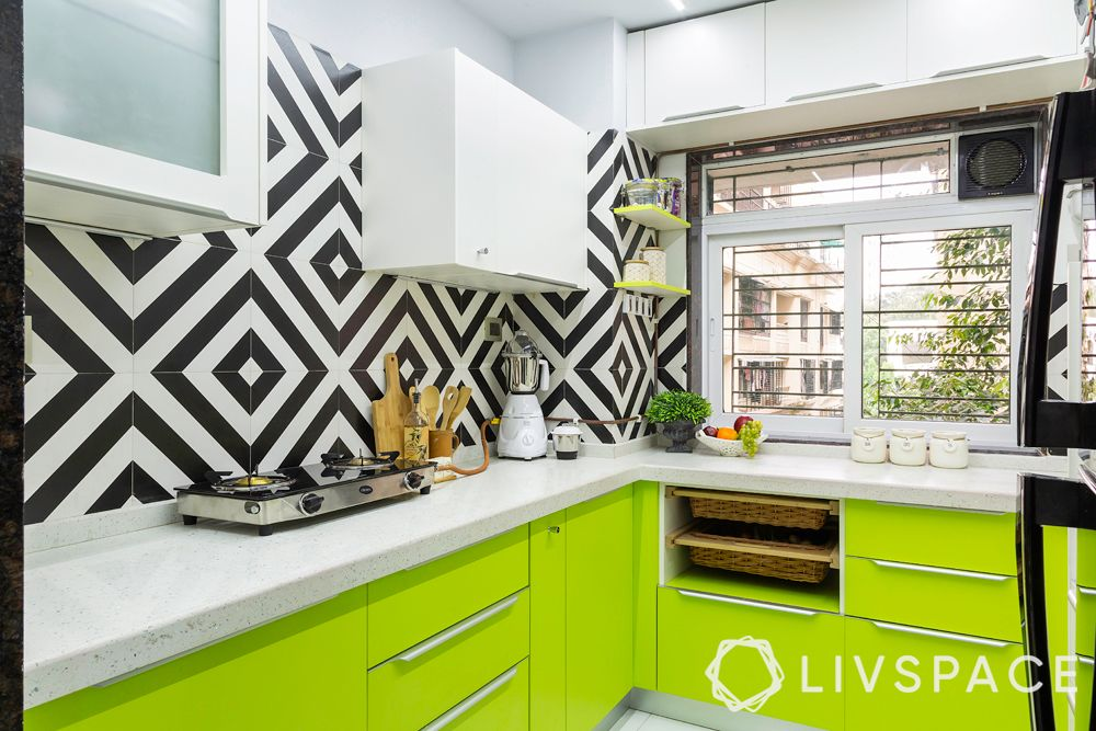 l shaped kitchen-green kitchen cabinets