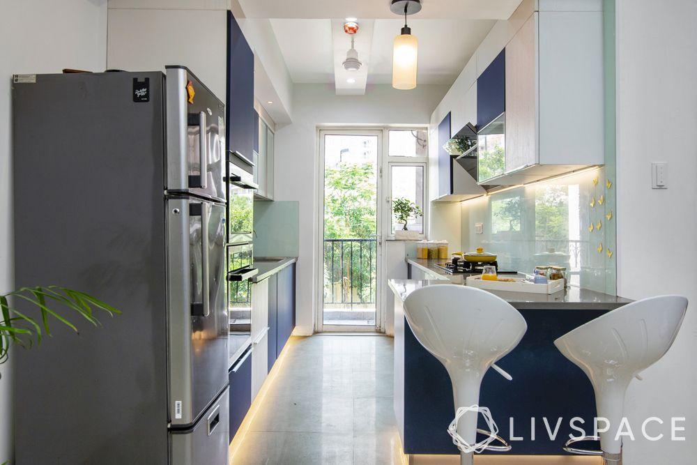 blue and white kitchen-parallel kitchen