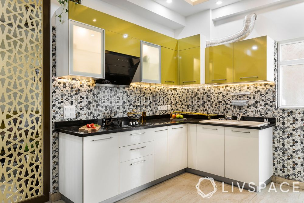 yellow kitchen cabinets-jaali partition