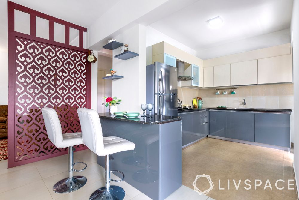 blue kitchen-jaali partition design