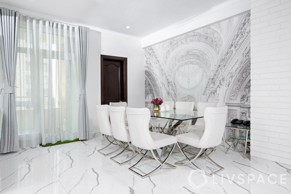 white dining room-marble flooring