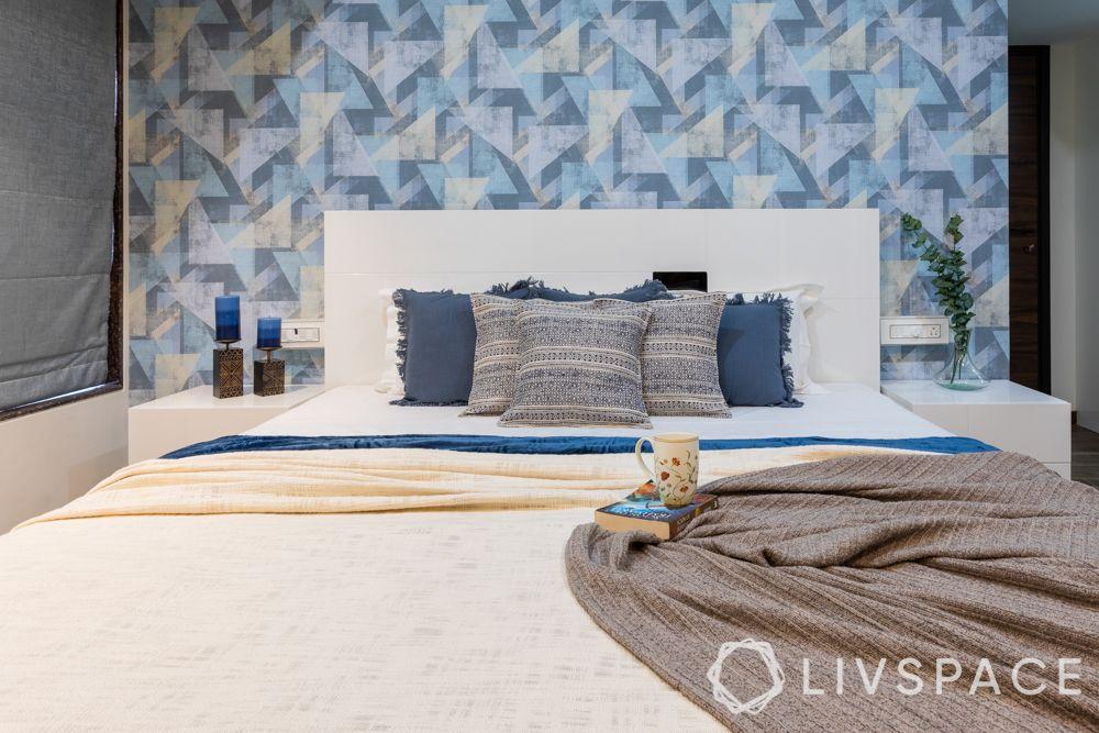 mumbai 2bhk interiors-bedroom-wallpaper-bed