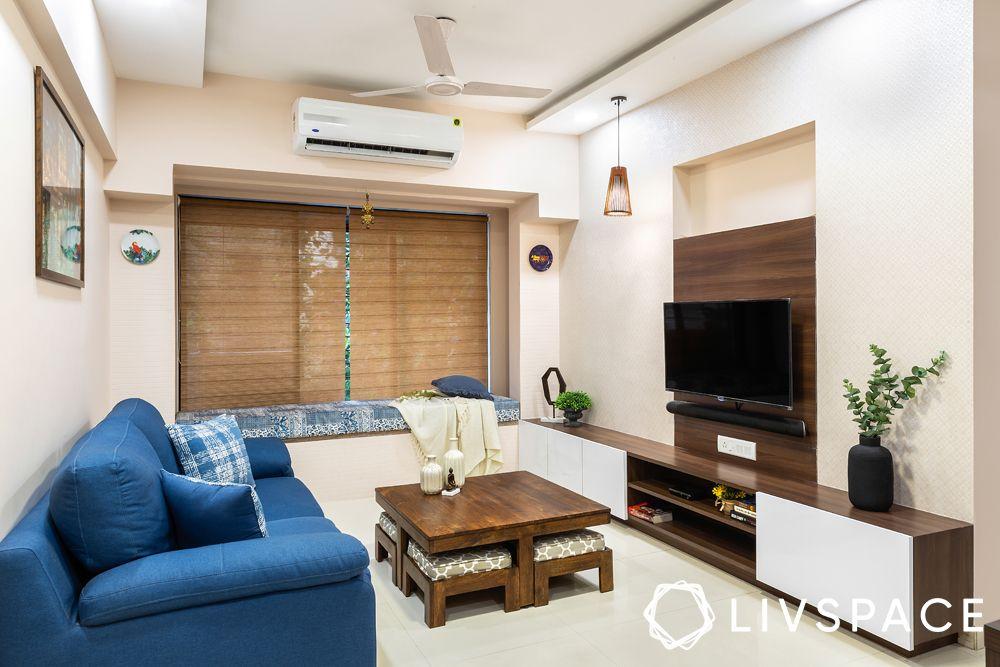 2BHK house design-living room-sofa-TV unit