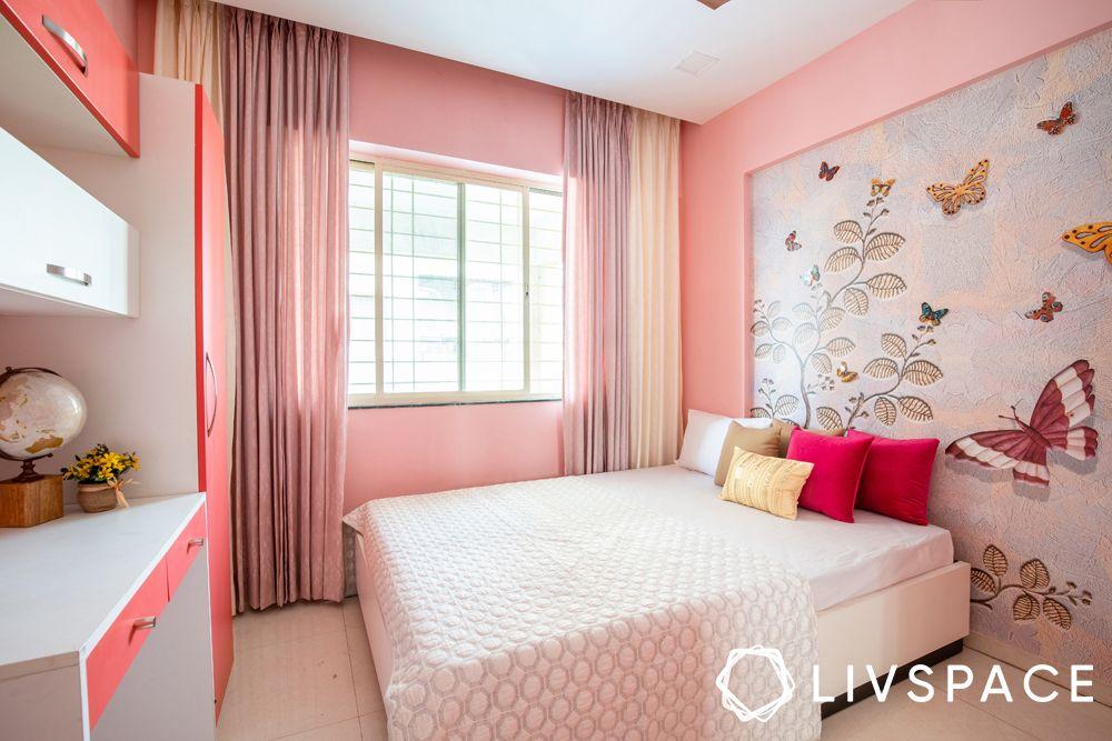 2BHK house design-bedroom-wallpaper