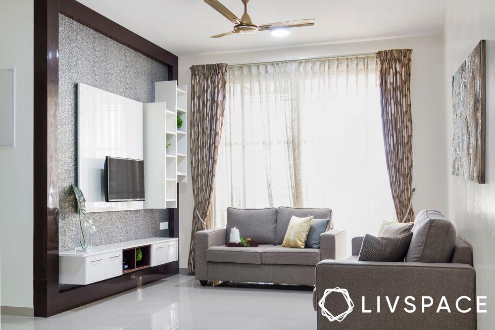 2BHK house design-living room-laminate TV unit-display unit-sofa